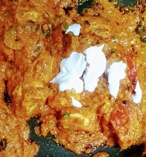 Poured fresh cream into the gravy for paneer tikka masala recipe