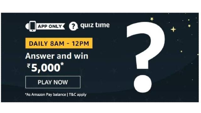 Amazon Quiz Answers Today 13 January win - ₹5000 Pay Balance