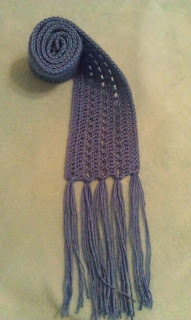 blue lace crochet scarf with fringe