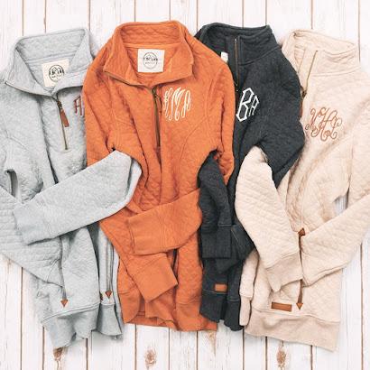 Monogrammed Quilted Pullover Sweatshirt