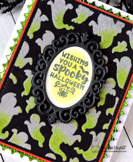 Halloween Glow in the Dark Card by Larissa Heskett   Ghosts Stencil, Creepy Cameos Stamp Stamp Set, and Framework Die Set by Newton's Nook Designs #newtonsnook