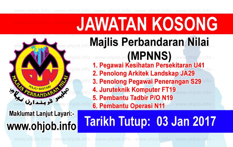 Jawatan Kerja Kosong Majlis Perbandaran Nilai (MPNNS) logo www.ohjob.info januari 2017
