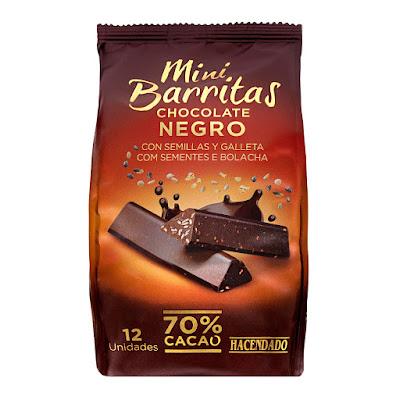 Mini barritas de chocolate negro 70% de cacao con semillas y galleta Hacendado