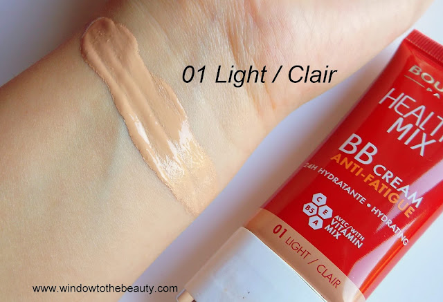Bourjois Healthy Mix BB krem 1 light clair swatche odcienia