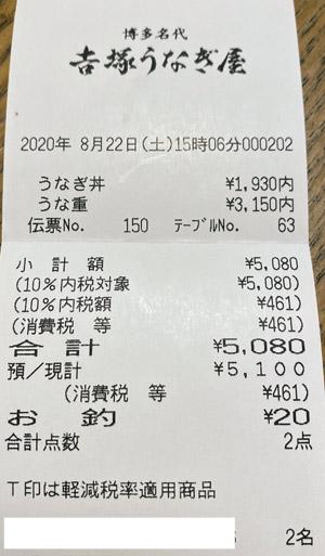 博多名代 吉塚うなぎ屋 2020/8/22 飲食のレシート