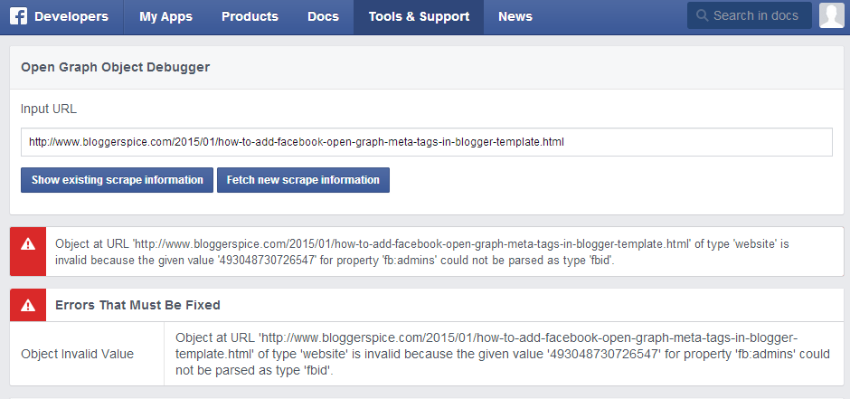 Use Facebook Open Graph Object Debugger to find the Error?