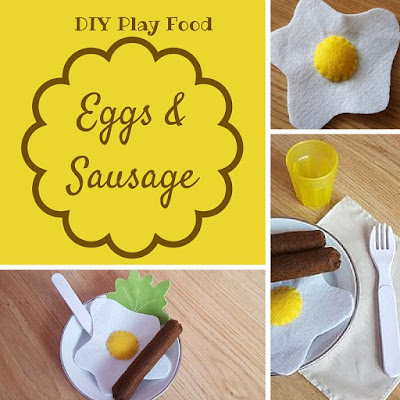 diy play food - eggs and sausage