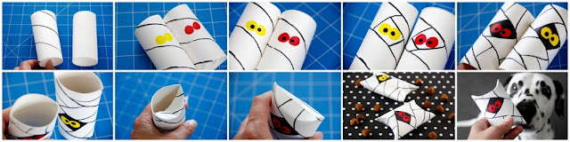Step-by-step instructions for making a Halloween mummy pillow box using an empty toilet roll or paper towel tube