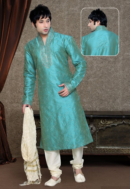 Buy Green & Cream Art Silk Kurta Pajama For Eid Wear