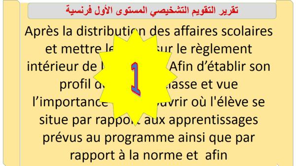 تقرير التقويم التشخيصي المستوى الأول فرنسية