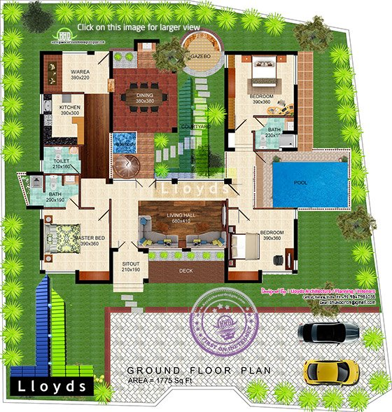 1775 square feet 3 bedroom mud house home kerala plans for Mud house design