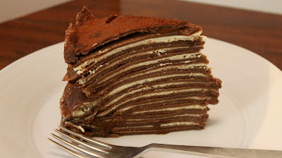 Chocolate and mascarpone crepe cake