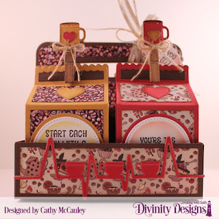 Stamp/Die Duo:  Hug in a Mug Paper Collection:  Latte Love Custom Dies:  Milk Carton Holder, Milk Carton with Layers, Coffee Heartbeat,  Mini Cups & Mugs, Layering Hearts, Pierced Circles, Circles, Ornate Ovals