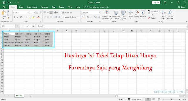 Cara Menghapus Tabel di Excel 2013