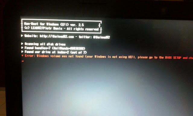 error windows volume was not found