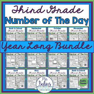 full year bundle of third grade number of the day activities