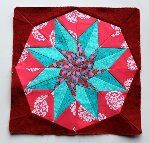 County Fair Compass Block made by Cath of Wombat Quilts, The Pattern designed by Quilting on the Square
