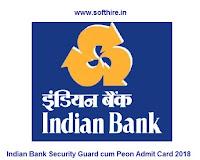 Indian Bank Security Guard cum Peon Admit Card