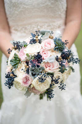 vintage blue and pink bridal bouquet