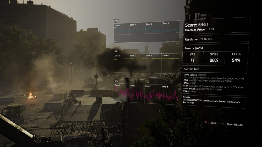 Benchmark Tom Clancy's The Division 2 Asus ROG Zephyrus S GX502GW