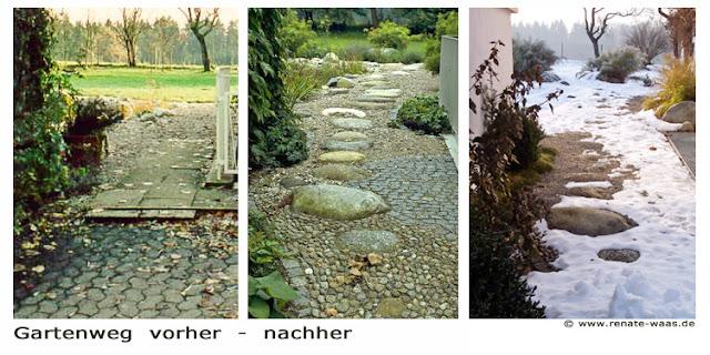 Weg im Winter - unterschiedliche Wirkung von Belägen