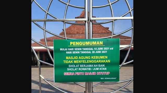 Masjid Agung Kebumen Ditutup Sementara, Sholat Berjamaah Ditiadakan