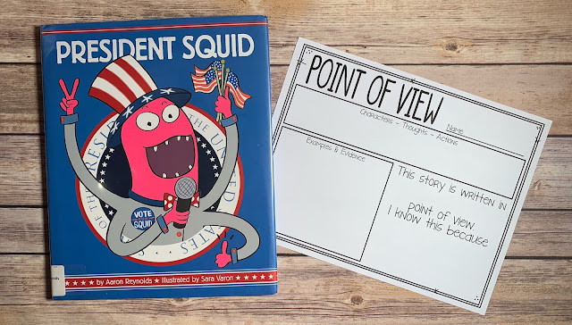 "Mentor Text with text ""President Squid"" and Graphic Organizer with text ""Point of View"""