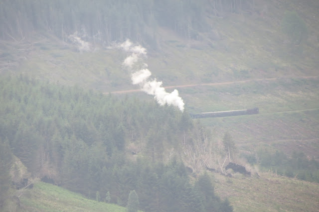 A long-distance shot of a steam train across the valleys.
