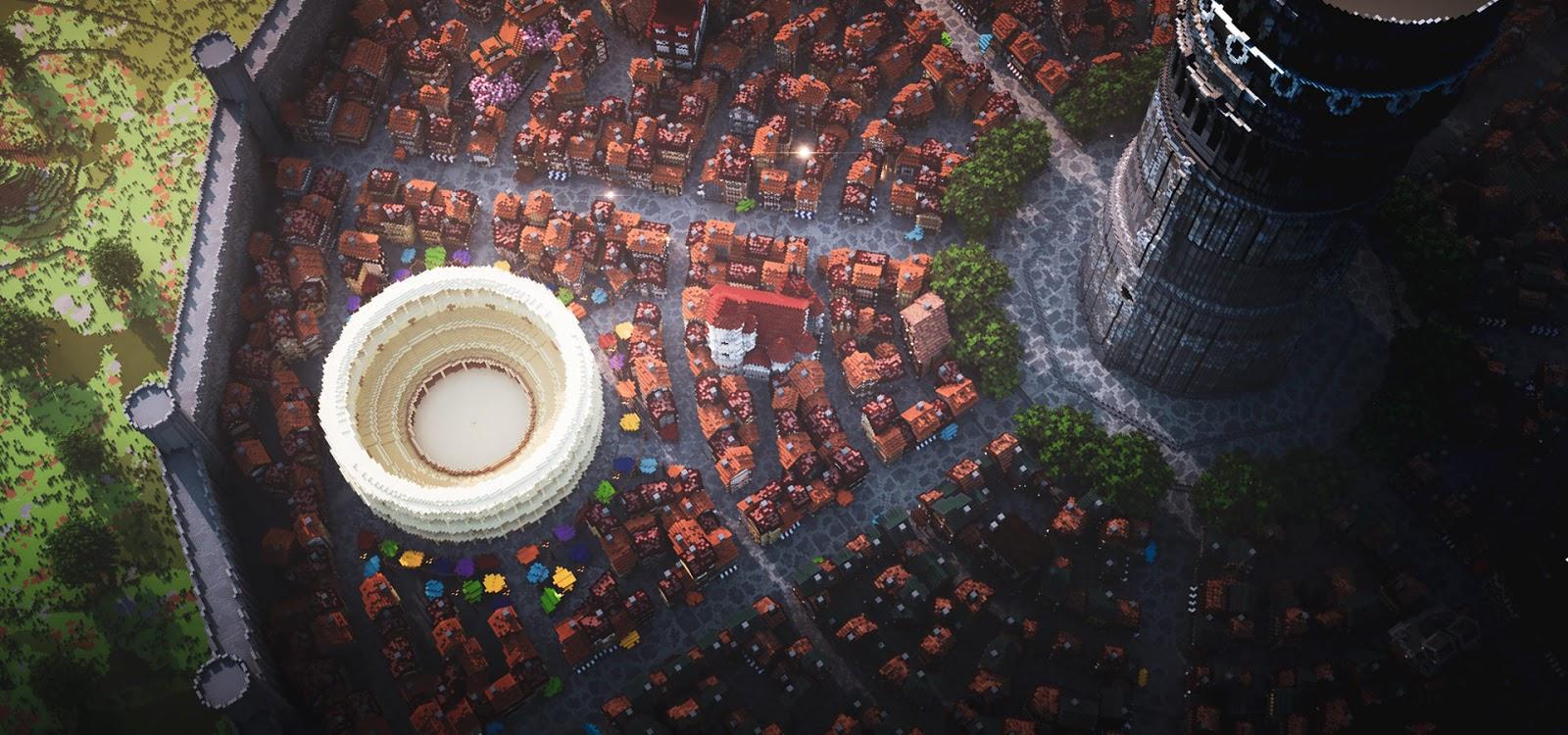 Gamer Bangun Kota Orario dari Anime DanMachi di Minecraft