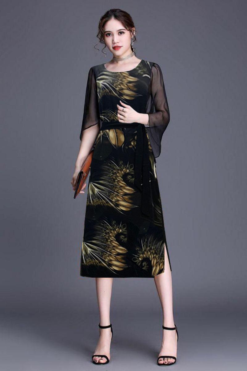 Đầm suông trung niên đẹp dáng suông đi tiệc dạo phố sang trọng váy đầm trung niên đính cườm, Đầm Suông Cổ Tim Phối Viền Cách Điệu, Đầm Suông Tay Cánh Tiên In Họa Tiết