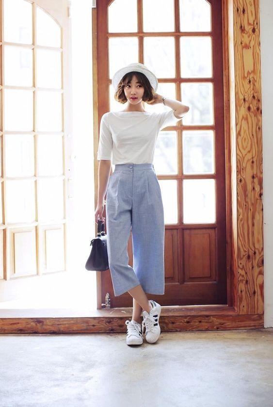 Estilo coreano girly com calça
