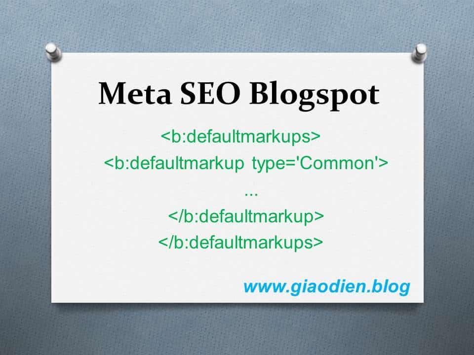 Cài thẻ Meta Seo cho blogspot