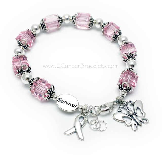 Breast Cancer Survivor Bracelet with a Butterfly and Ribbon Charm