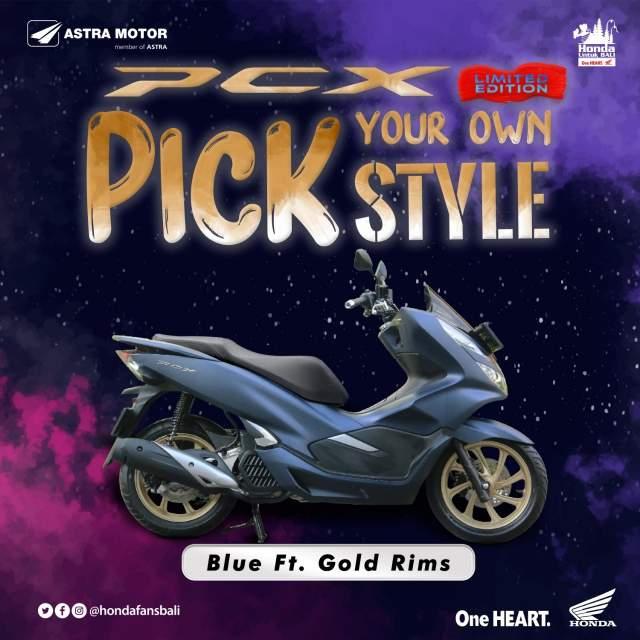 Warna Baru Velg PCX Biru Matte dengan Gold Rims
