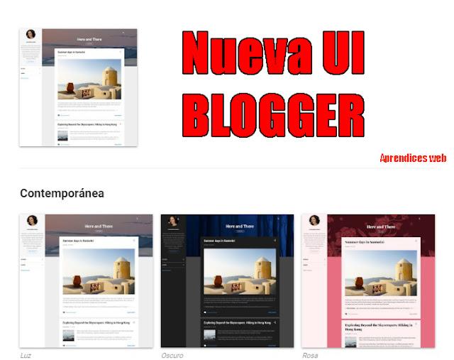 nueva interfaz (UI) en blogger 2020