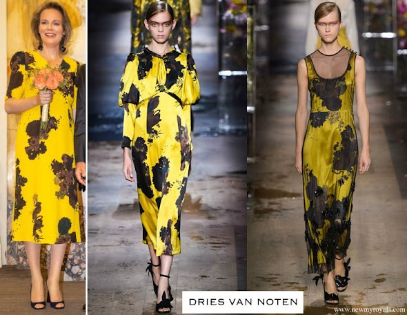 Queen Mathilde wore DRIES VAN NOTEN Print Silk-Crepe Midi Dress