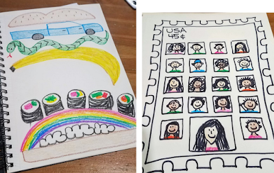 Image Left: A silly sandwich designed by the author.  Image Right: A hand-drawn virtual class with the teacher and students in their own squares.