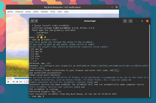 Trakt Scrobbler Linux vlc mpv plex