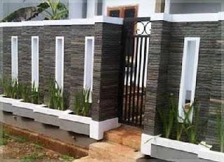 contoh pagar minimalis batu alam alur