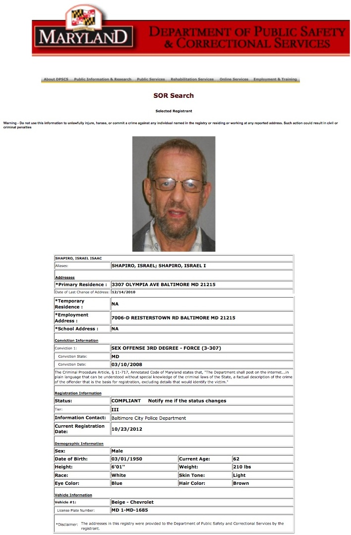 maryland sex offender registry search sexual predator in Thornton