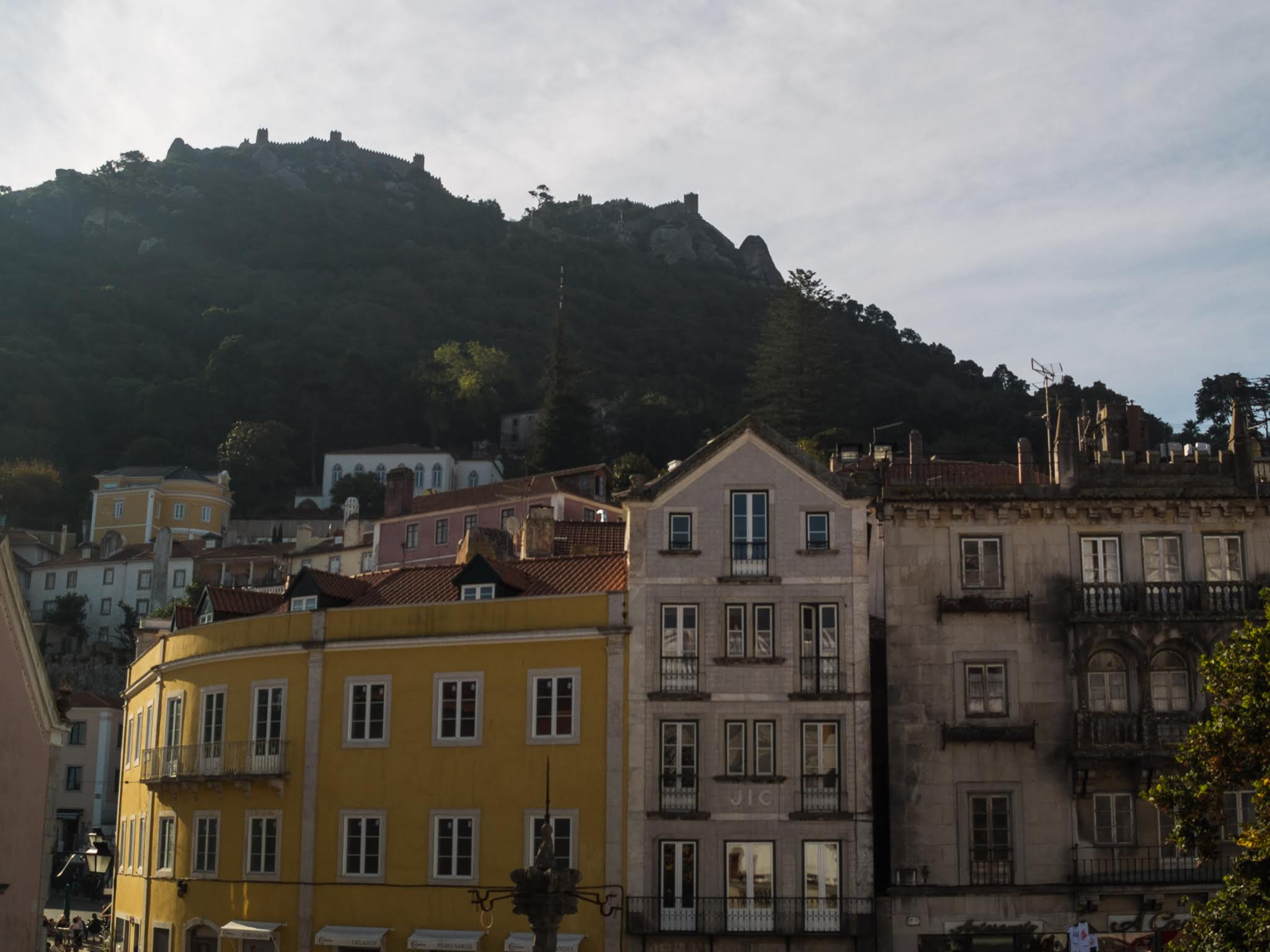 View of buildings on Sintra's main square across from the Sintra National Palace.