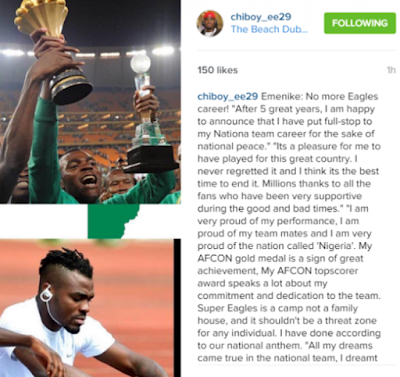Nigerian striker Emmanuel Emenike releases statement that he is retiring from the national team super eagles of Nigeria