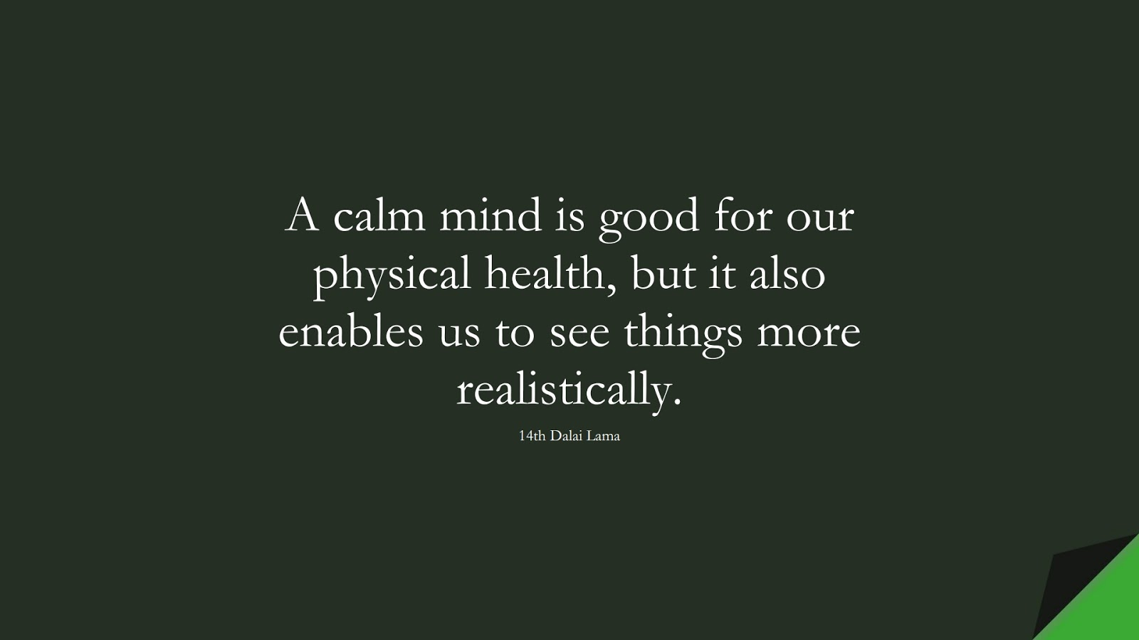 A calm mind is good for our physical health, but it also enables us to see things more realistically. (14th Dalai Lama);  #CalmQuotes