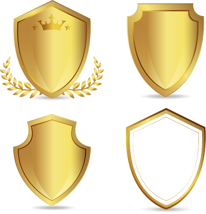 Four gold shield logos, Euclidean, hand-painted golden shield, watercolor Painting, golden Frame, painted png free png