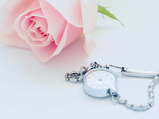 watch and pink rose