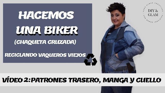 Patrones trasero, manga y cuello de una biker