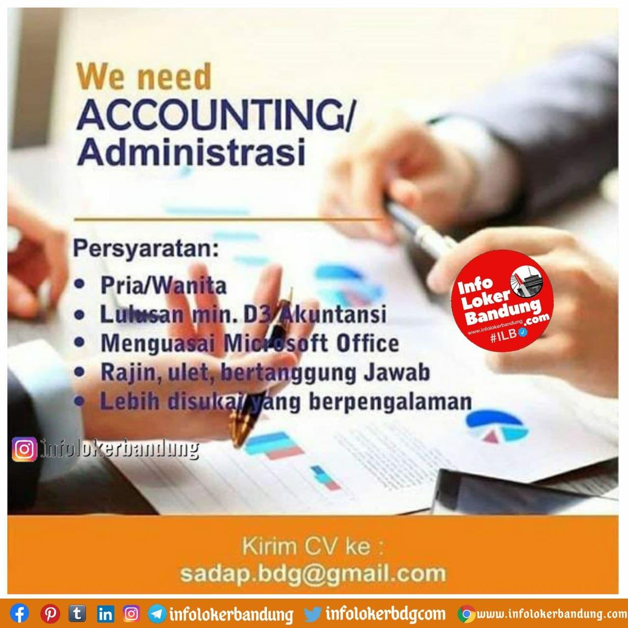 Lowongan Kerja Accounting / Administrasi di PerusahaanDistributor Bandung Desember 2020