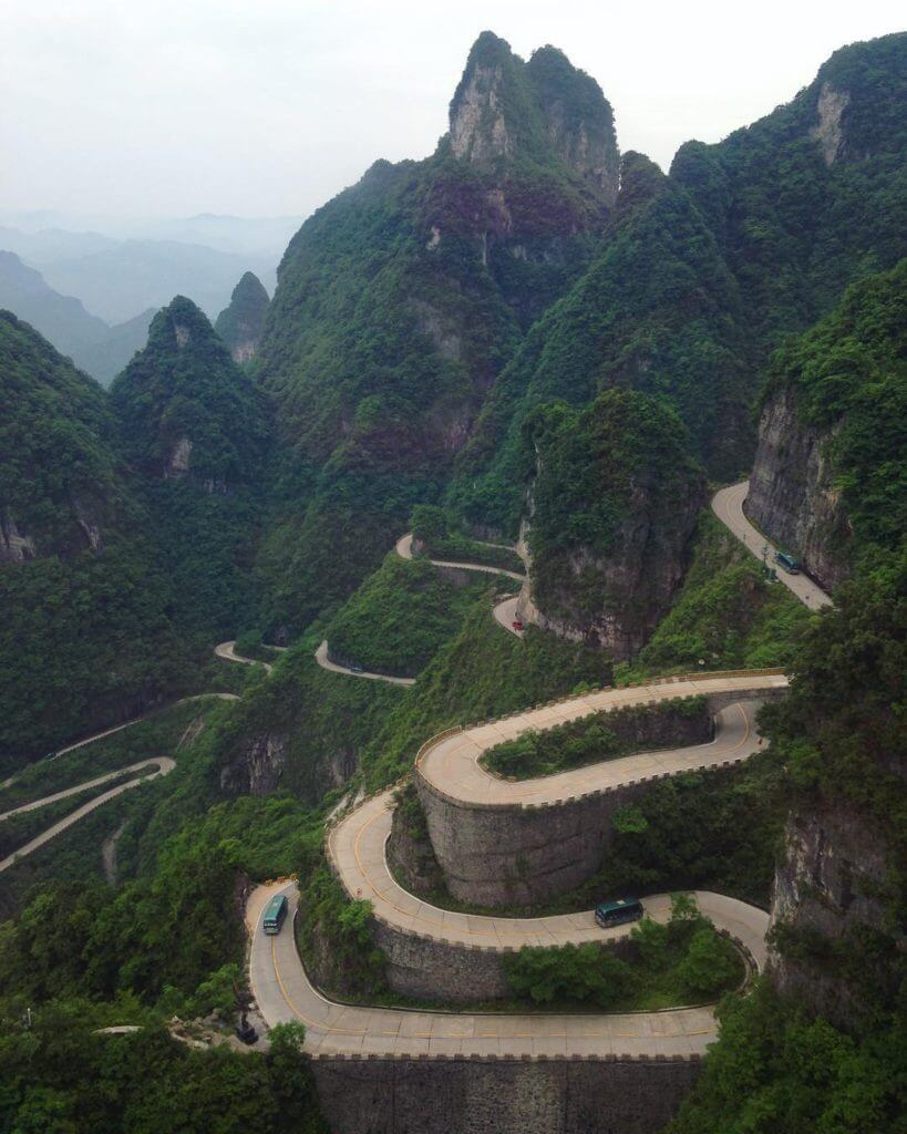 The 15 Most Hazardous Roads In The World - Tianmen Mountain Road, China