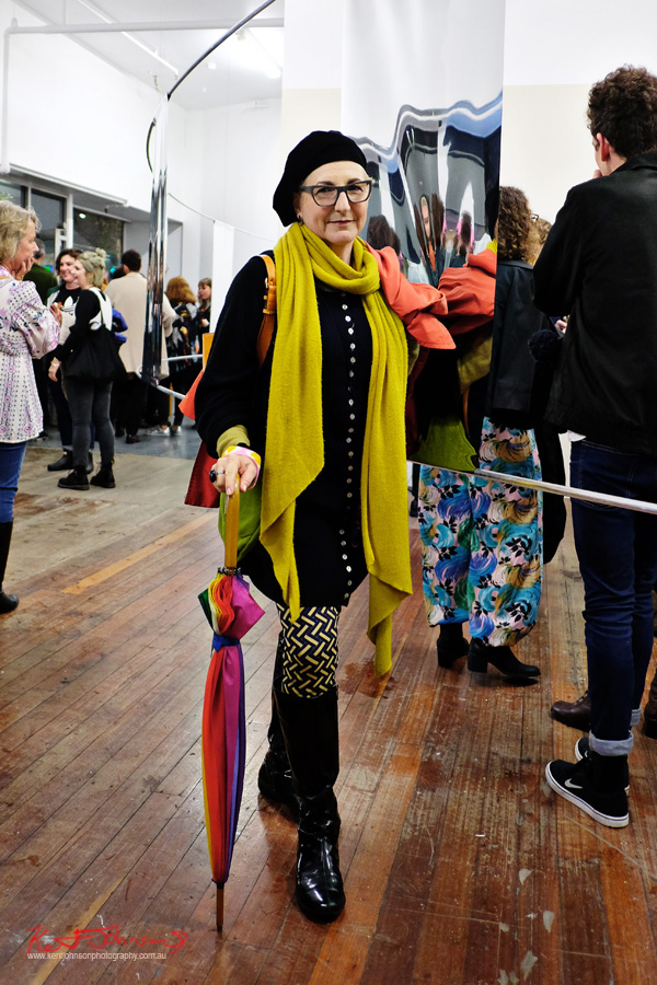 Winter womans style with colour. Street Fashion Sydney photographed by Kent Johnson.