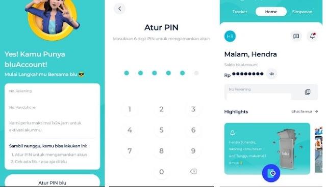 Aktifkan PIN di Aplikasi blu